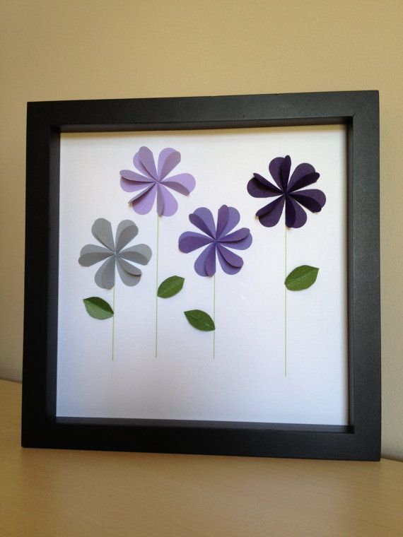 cute for the girls room // Purple Flowers 3D paper art that can be personalized by PaperLine, $35.00