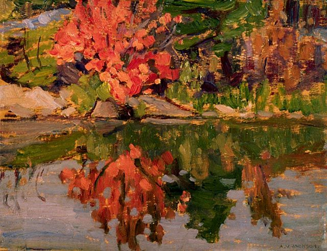 """""""Red Trees Reflected in Lake,"""" A.Y. Jackson, 1913, oil on wood, 8.22 x 10.66"""", National Gallery of Canada."""