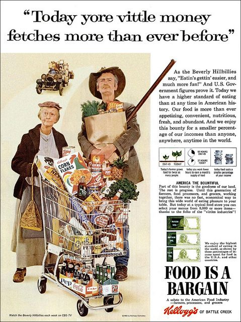 """♣vintage ad featuring """"Beverley Hillbillies"""" who would think of using wealthy hillbillies to sell products, we're looking at YOU """"DUCK DYNASTY""""!!!♣ツ"""