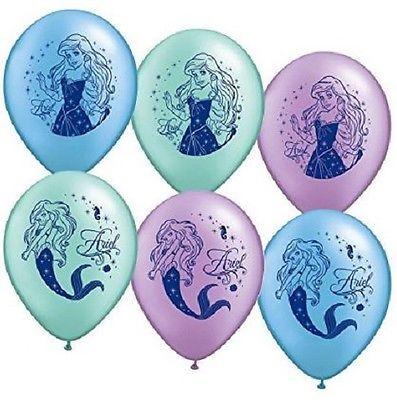 DISNEY Ariel la sirenetta Festa di Compleanno Palloncini-Confezione da 6, Qualità Elio