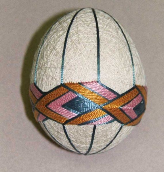 Temari Egg  Cream with Blue Pink and Gold by AuntBetsyCrafts, $40.00