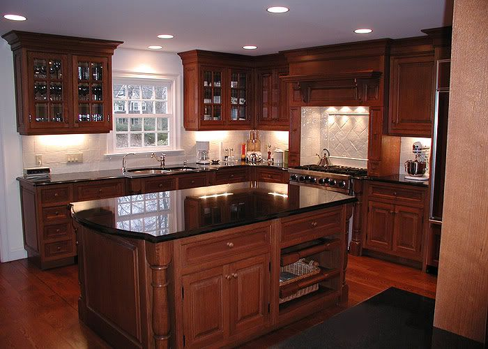 Best 20 dark granite kitchen ideas on pinterest dark for Cherry kitchen cabinets with black granite