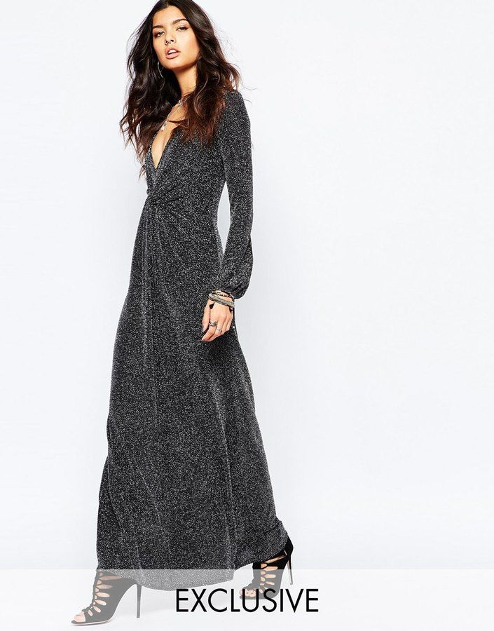 Reclaimed Vintage Sexy Plunge Neck Long Sleeve Maxi Dress In 70's Glitter knit