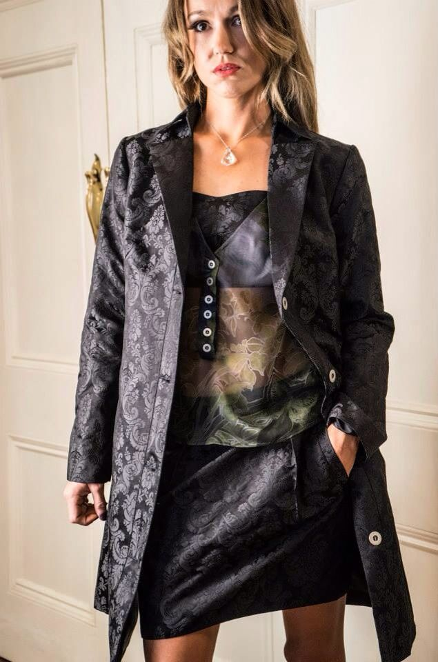 Jacquard silk trench and skirt