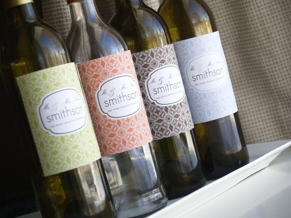 Treasury Selected DIY Printable wine bottle label for any event in damask print with any color background to match your event