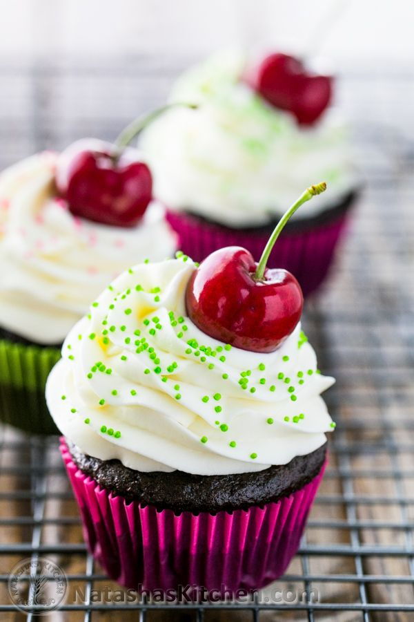 You have to try these Dark Chocolate Cupcakes with White Chocolate Frosting @NatashasKitchen