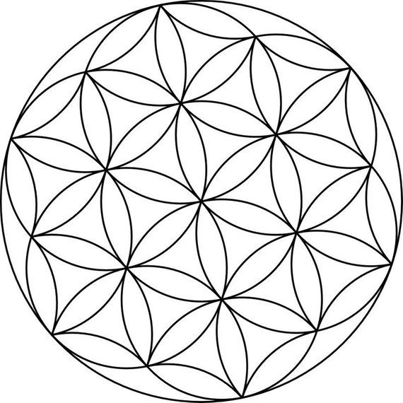 Flower Of Life Canvas Crystal Grid Geometric Coloring