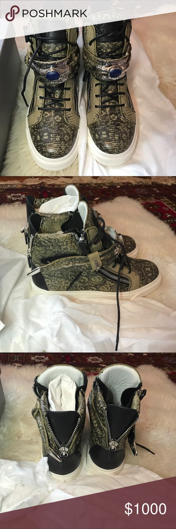 Giuseppe Zanotti sneakers Never worn Giuseppe Zanotti sneakers. Size 41. Comes with card of authenticity. This shoe is for both men and women in women size they would be 9-9.5 NWOT Giuseppe Zanotti Shoes Sneakers