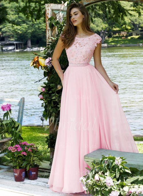 Prom Dresses - $148.39 - A-Line/Princess Scoop Neck Sweep Train Chiffon Prom Dress With Lace Beading (0185093458)