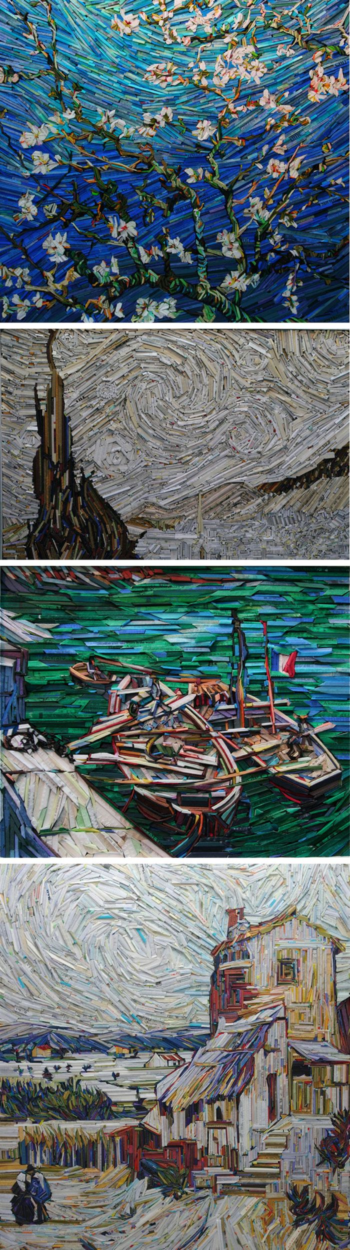 Korean artist Lee Kyu-Hak recreates paintings such as Van Gogh's Sunflowers using wood blocks wrapped in coloured newspaper: - Kyu Hack art with woodBranches with Almond Blossom - Starry night - Sand barges - Old mill