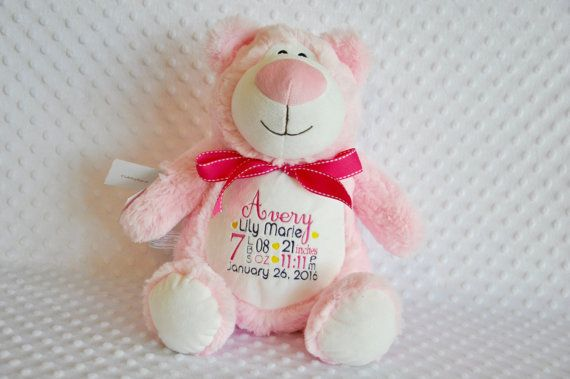 187 best personalised cubbies images on pinterest cubbies personalized baby gift pink teddy bear stuffie personalized monogrammed embroidered stuffed animal personalized bear negle Images