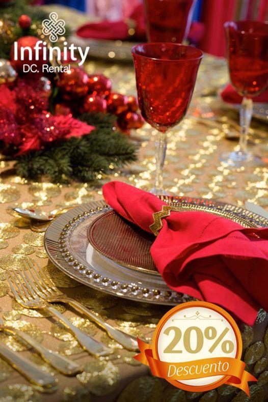 Comencemos la cuenta regresiva para celebrar una noche de amor e ilusión!  Esta Navidad vístete de unión, con una mesa familiar cargada de hermosos detalles, todavía con el 20% de DESCUENTO!!!  #Infinity #ElArteDeCelebrar 20%#DESCUENTO  #LaMagiaExiste #DiseñamosEventos
