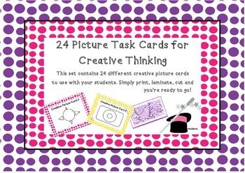 Task Cards Set   Creative Picture Thinking Task Cards for Years 4-7  There are two ways that I use these cards with my students:  The first way is for the students to copy their picture from a task card and then incorporate the task card picture into a larger picture.  The second way is to ask the students to look at their card and write down what the picture could be/looks like to them. With younger students you can start with 3 or 4 ideas and increase the amount of ideas they record with…