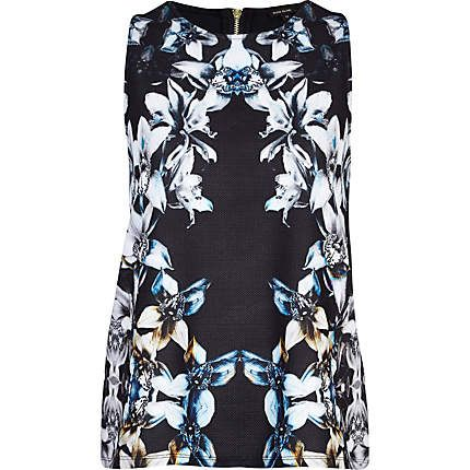 Black mirrored Orchid print shell top £22.00