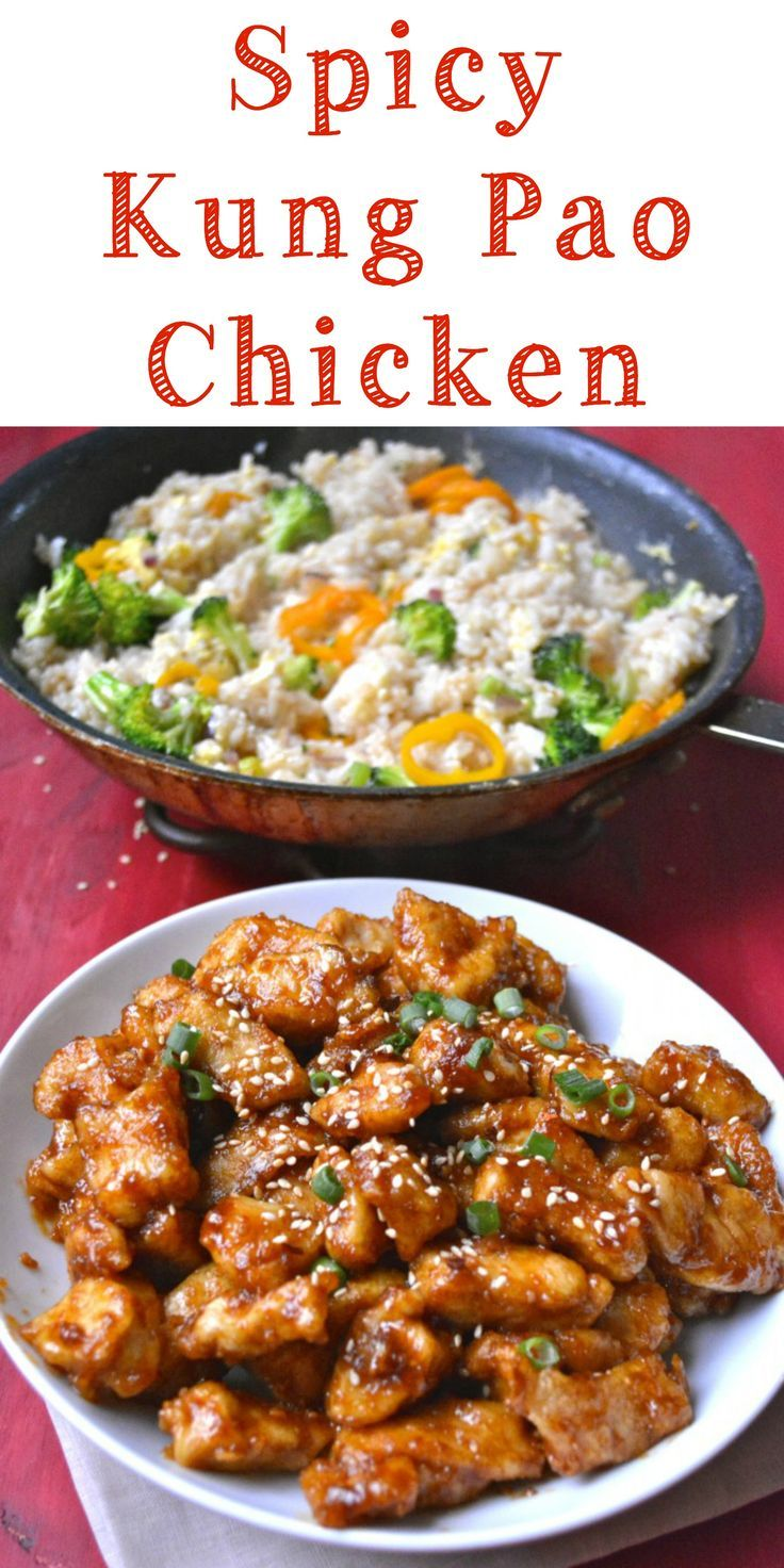 Spicy Kung Pao Chicken! Way better than take out! - flavors sound great! Want to cook the chicken with way less oil
