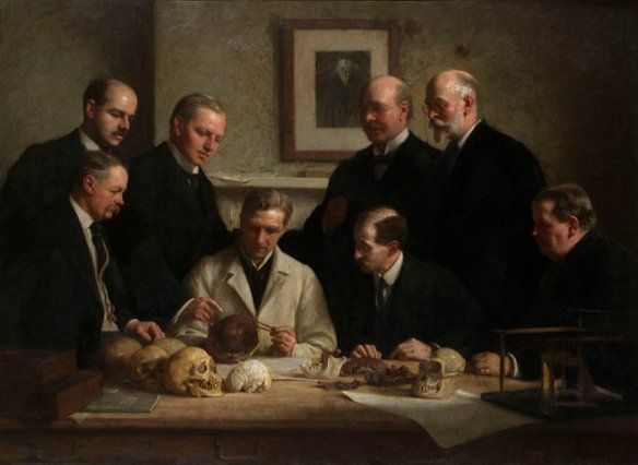 Remembering the Piltdown Man hoax: John Cooke's group portrait of Charles Dawson, and others. Dawson is second from the right in back, next to a picture of Charles Darwin.