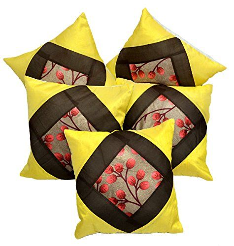 5pc Silk Yellow Modern Ultra Luxury Home Decor Contemporary Pillow Cases Cushion Covers Krishna Mart India http://www.amazon.com/dp/B010FVCORA/ref=cm_sw_r_pi_dp_SuILvb1HPC1T5