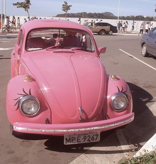 The ONLY time eyelashes on cars are appropriate, are when they're pink, and mini
