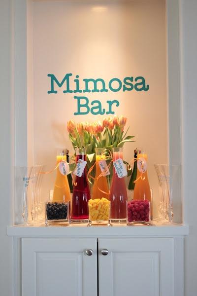 Mimosa Bar: orange, cranberry, mango, strawberry banana, and peach juices
