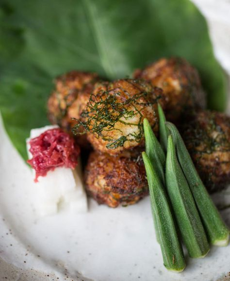 Japanese prawn fritters with shiso and salted plum (prawn shinjo-age)-Adam Liaw
