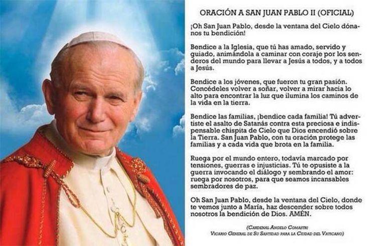 Imprima la Oración Oficial a San Juan Pablo II – Infocifras.org