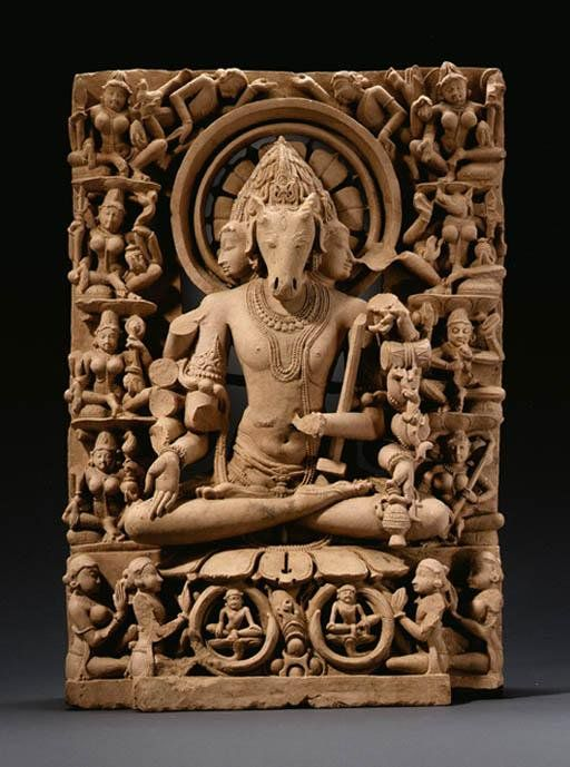 Hayagriv - Vishnu as a horse headed deity with two human heads on either side.       Eight female deities (matrukas) surround him.      worshipers - male and female - sit below with rapt attention.