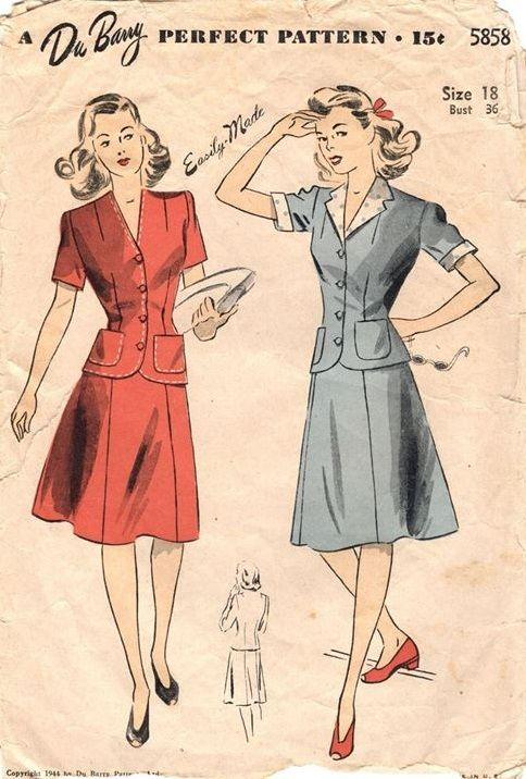 "DuBarry 5858. 1944 Two-Piece Dress. Bust 36"". Original. Complete."