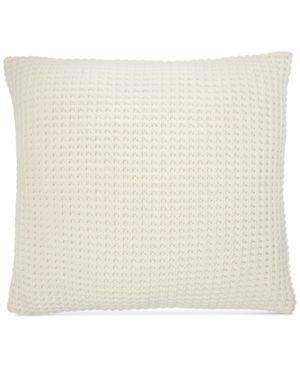 "Ralph Lauren Miller Waffle-Knit 18"" Square Decorative Pillow - Cream"