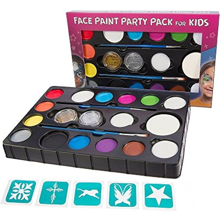 Kid Face Paint Kit 14 Color XL Party Pack 4 Sponges 2 Glitter Gels 2 Brushes New #BlueSquid
