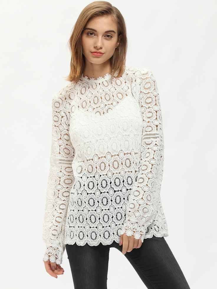 Blusa cuello mock encaje -blanco-Spanish SheIn(Sheinside)