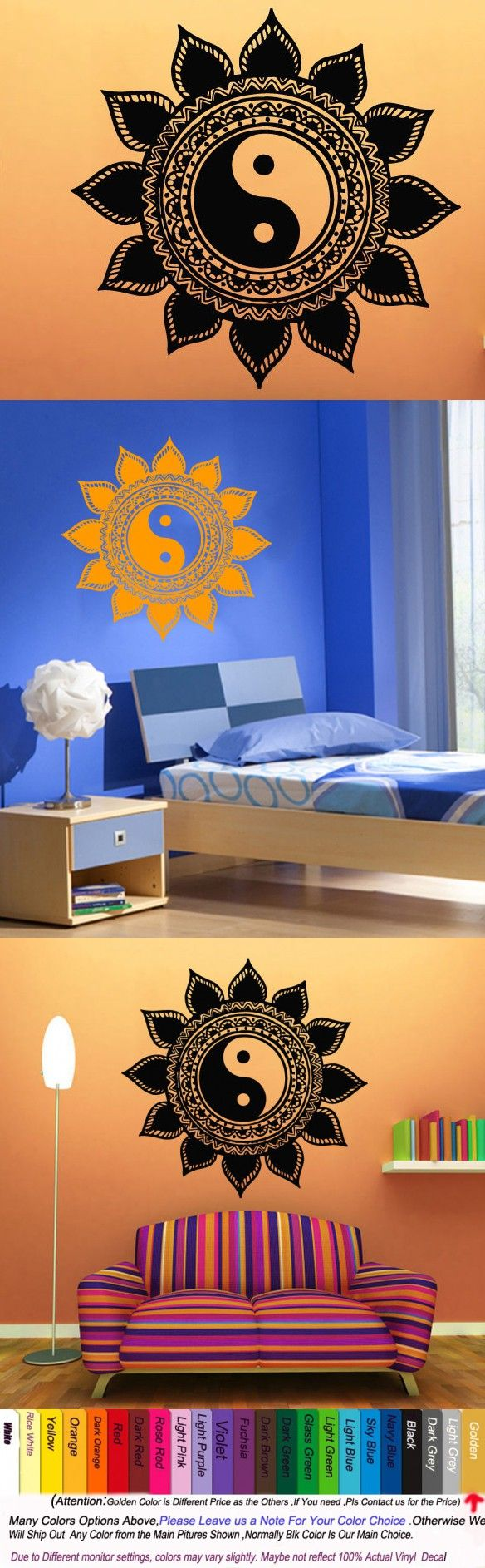 28 best blue room images on pinterest wall stickers home and yoga vinyl wall decal mandala sun flower indian yin yang home decor mural art wall sticker
