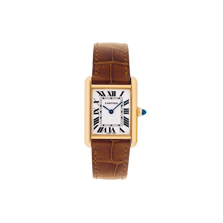"""TANK LOUIS CARTIER WATCH, SMALL MODEL Quartz, yellow gold, sapphire, leather  REF: W1529856 Worn by Louis Cartier himself, the """"Tank Louis Cartier"""" watch sets the standard for all Tank watches. To embody Louis Cartier's contribution to """"modern style"""", later known as Art Deco, the tops of the lugs were rounded in contrast to the previously fashionable rectangular form and proud lines. Cartier"""