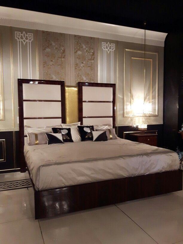 Bed in rosewood styled Art Deco with  brass fabric and nubuk leather #salonedelmobilemilano  #Luxuryfurniture #luxurydesign #hebanon #fratellibasile #designdilusso #ritamazzeo #madeinitaly  #fratellibasileinteriors #luxurystyle #fratellibasile #designdilusso #mobilidilusso #arredidilusso #arredamentodilusso #contemporaryluxurydesign #arredamentoclassicodilusso