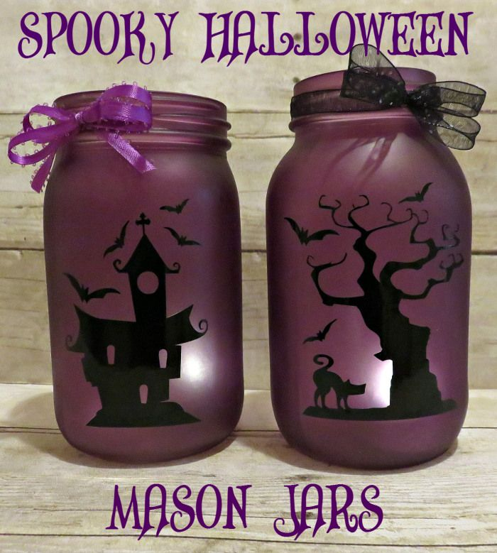 Spooky Halloween Mason Jars with free cut file by My Paper Craze