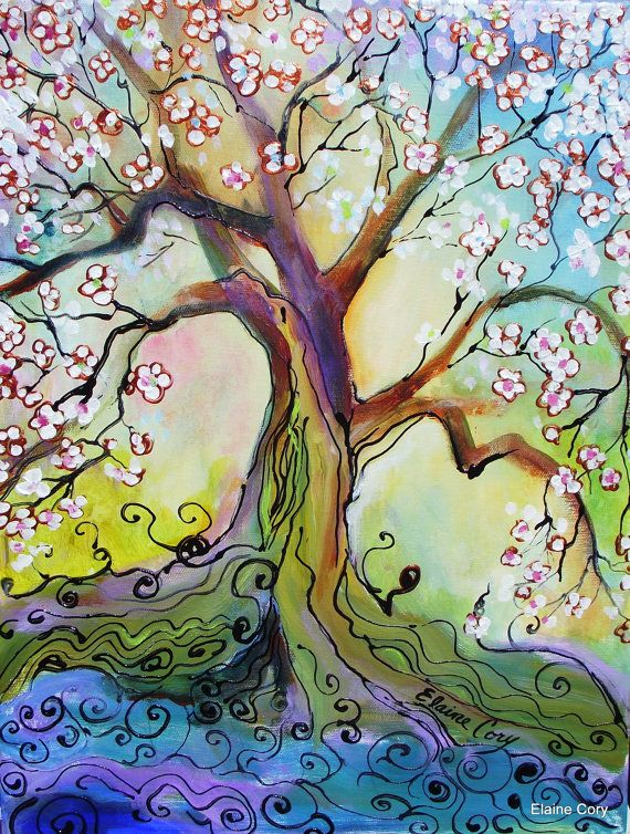 """ Japanese Plum Tree"" is an original painting by Elaine Cory."