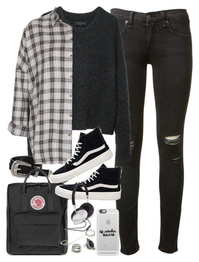 """Outfit for uni with Vans and a flannel"" by ferned on Polyvore featuring rag & bone, Casetify, ASOS, Topshop, Fjällräven, Vans and Forever 21"