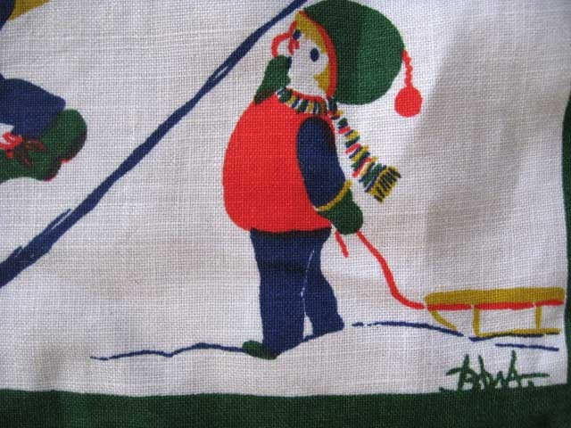 Julduk/tablecloth signerad BOWA  50 tal