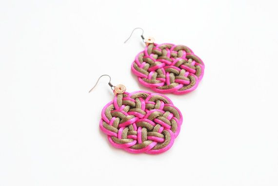 Macrame earrings knot earrings knotted earrings by elfinadesign
