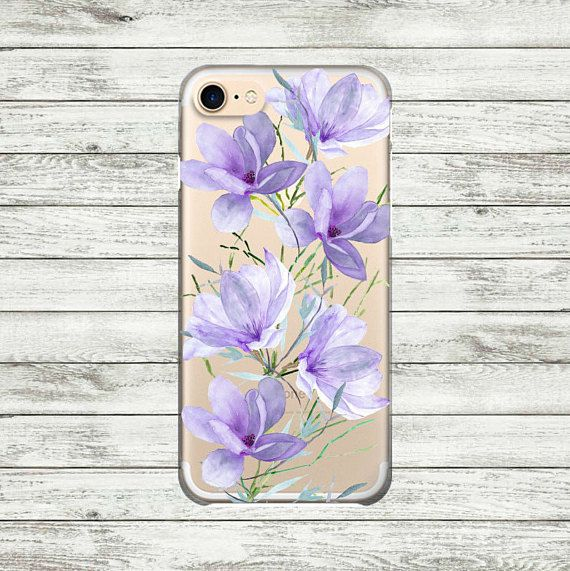 Blue Flowers iPhone 7  Plus Case Clear iPhone 7 Case iPhone