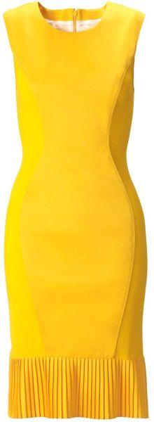 Emilio De La Morena Yellow Yellow Silk Cape Pencil Dress