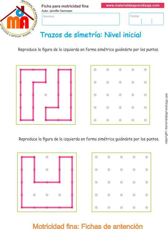 Ejercicio 9: Copia los trazos y las formas de manera simétrica guiándote por los puntos. Actividades escolares de trazos de simetría.