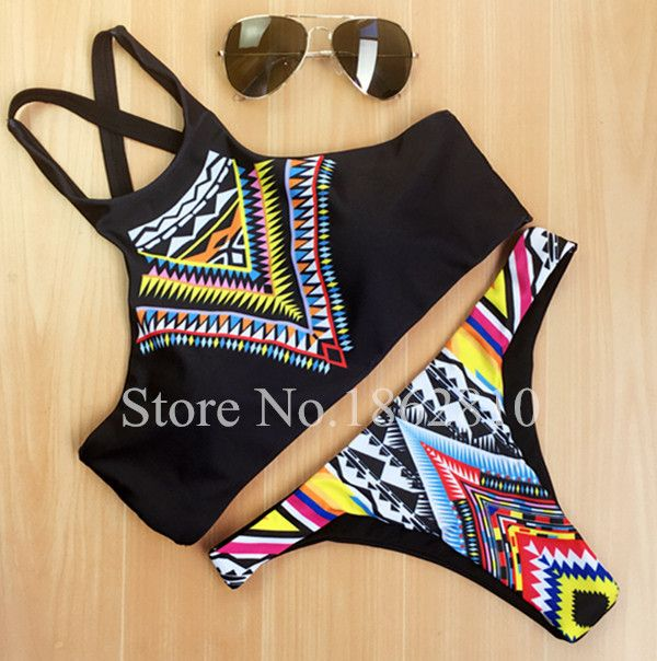 2016 New Fashion Women Bikinis High Neck Push up Bikini Set Geometry Black Swimwear Slim Print Swimsuit Biquini Bathing Suit