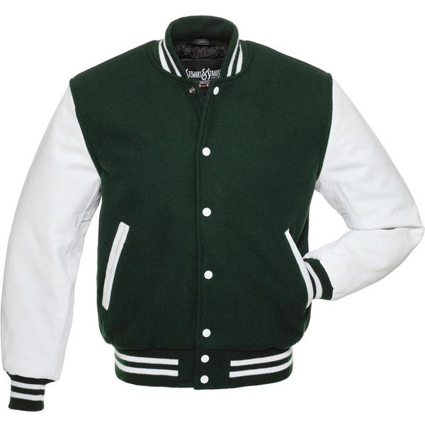 Forest Green Wool and White Leather Letterman Jacket - C107 ($179) ❤ liked on Polyvore featuring outerwear, jackets, patch leather jacket, green letterman jacket, real leather jacket, varsity jacket and varsity letter jackets
