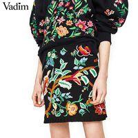 Женщины vintage Boho вышивка юбки faldas хем оборками молнии Европейский стиль уличной моды черный мини юбки BSQ511