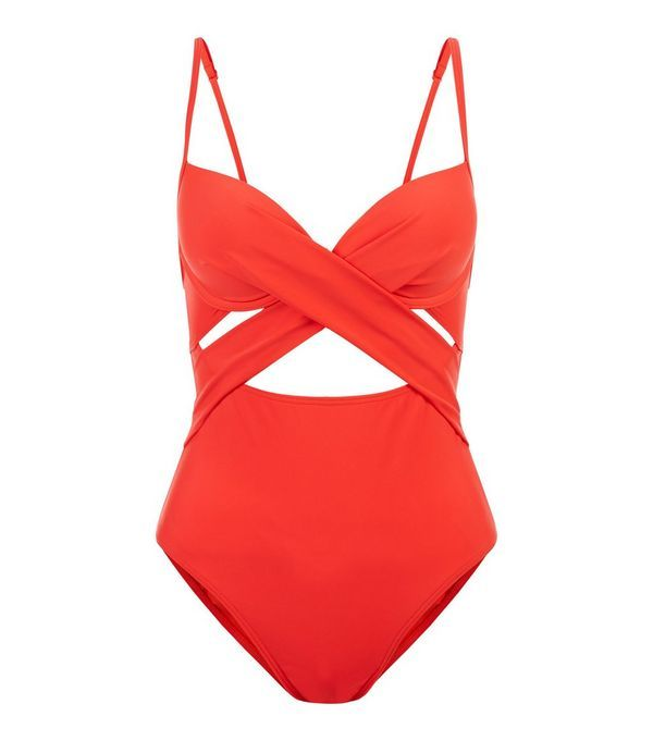 Red Cut Out Wrap Front Swimsuit  | New Look