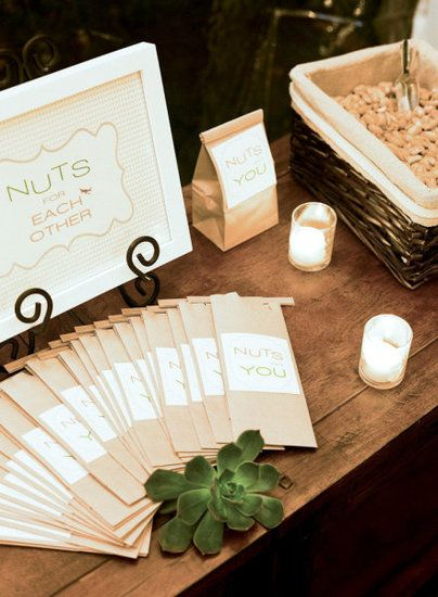 Nuts: Perhaps one of the best things about nuts as favors is the endless amount of love puns you'll be able to dream up.  Photo by Tanja Lippert Photography via Style Me Pretty