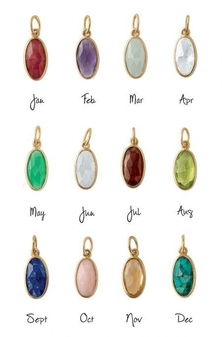 Cute Jan-Dec Gold Birthstone Charms | Birthstone Charms