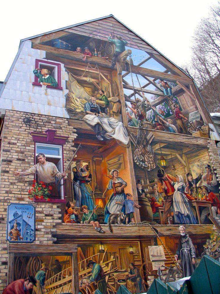 Mural on Rue du Petit-Champlain in Historic Quebec City