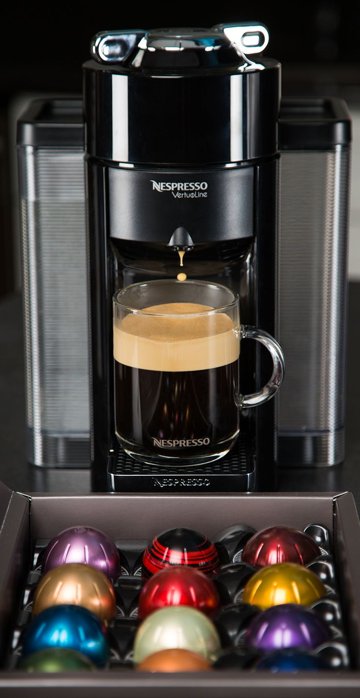 The Nespresso Evoluo Machine can brew a perfect cup of coffee - and espresso! - with just a touch of a button. Try all fourteen of our VertuoLine Grands Crus and experience a cup above right in your kitchen.