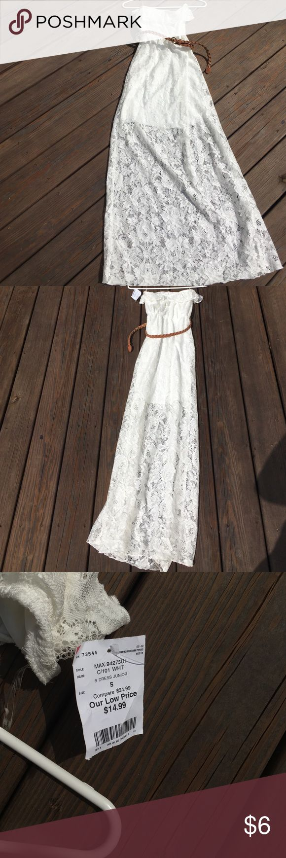 TRIXXI WHITE LACE DRESS DRESS W BELT  S (juniors) TRIXXI WHITE LACE STRAPLESS DRESS WITH BELT SIZE S (juniors). Trixxi Dresses Strapless